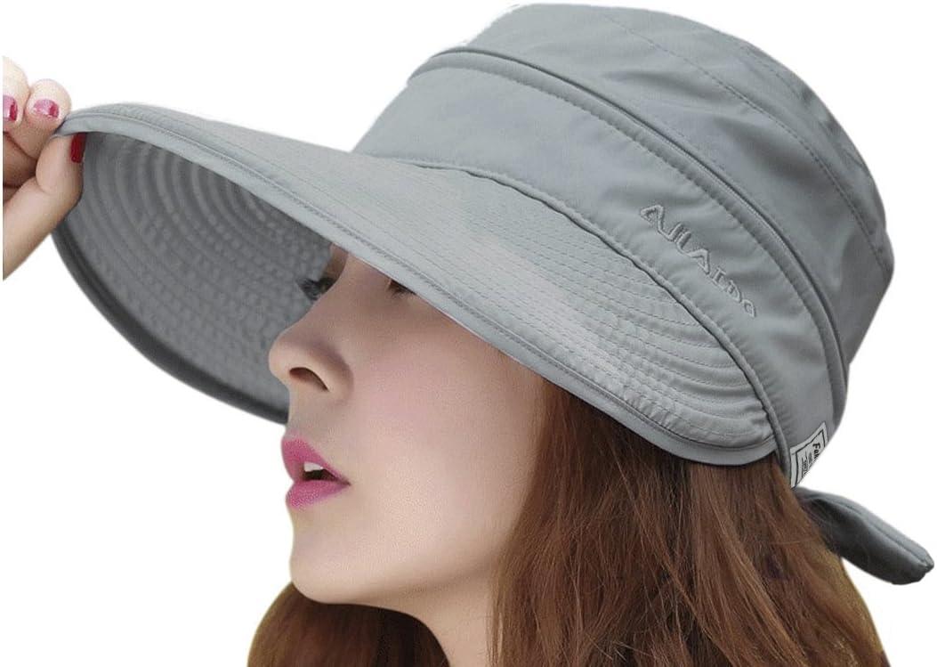 Women Wide Brim Visor Anti-UV Sun Protection 2 in 1 Summer Sun Hat Cap