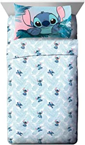 Jay Franco Disney Lilo & Stitch Floral Fun Full Sheet Set - 4 Piece Set Super Soft and Cozy Kid's Bedding - Fade Resistant Microfiber Sheets (Official Disney Product)