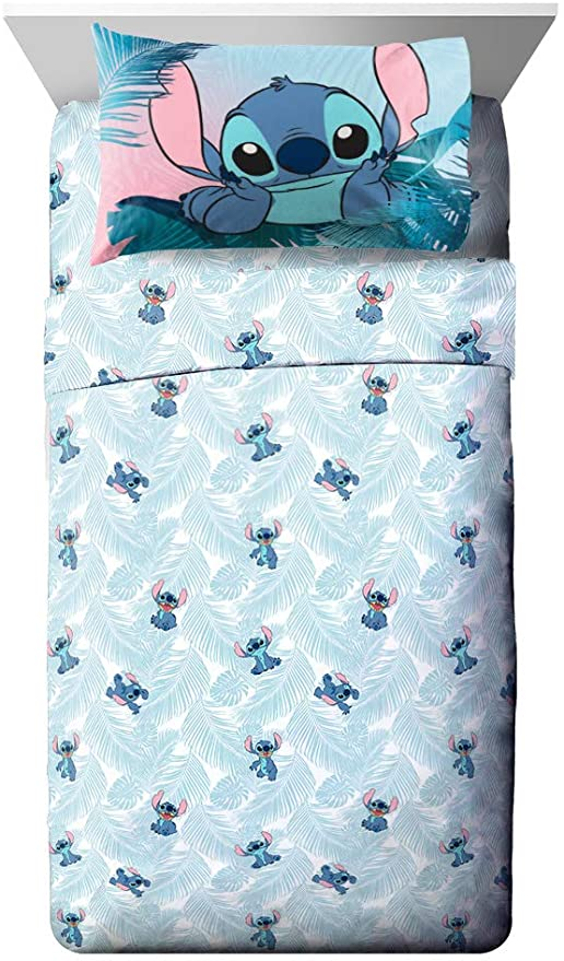 Disney Lilo And Stitch Floral Fun 7 Piece Full Bed Set Reversible