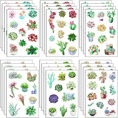 Leinuosen 18 Sheets Plant Decorative Stickers Cactus Leaves Flowers Stickers Succulent Plant Craft Labels for Scrapbooking Stationery Bullet Journals
