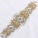 XINFANGXIU Rhinestones Applique, Crystal Applique with Pearls Beaded Embellishments for DIY Bridal Wedding Sash Belt Bodice Neckline Veil- Rose Gold