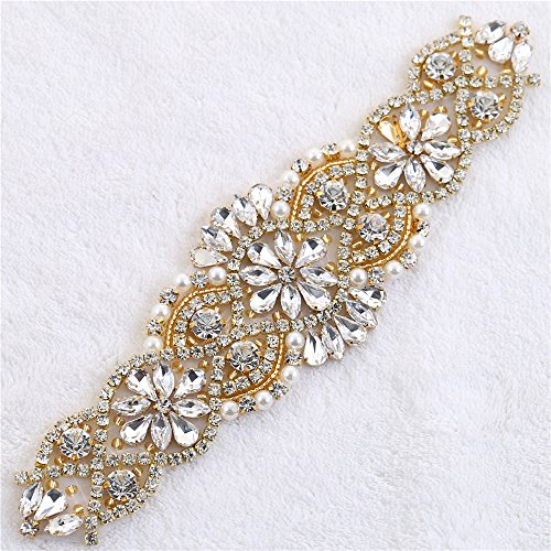 (XINFANGXIU Rhinestones Applique, Crystal Applique with Pearls Beaded Embellishments for DIY Bridal Wedding Sash Belt Bodice Neckline Veil- Rose Gold)