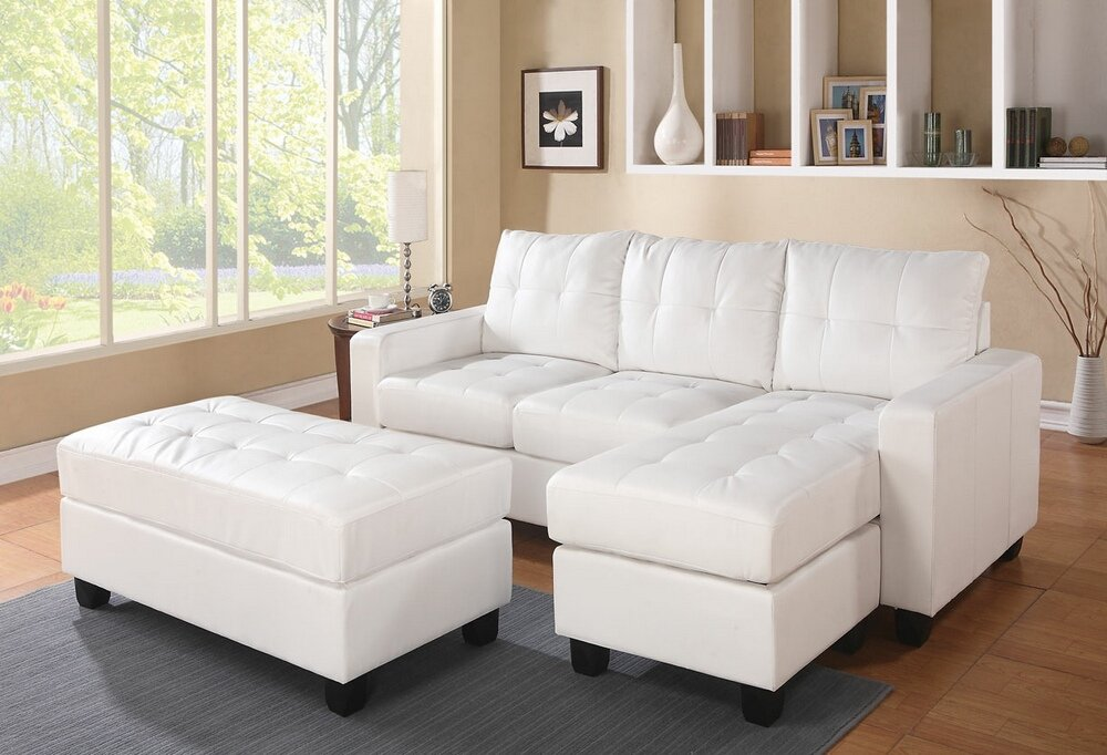 amazoncom 2 pc lyssa collection white bonded leather match upholstered sectional sofa with reversible chaise with squared arms and free ottoman kitchen u0026
