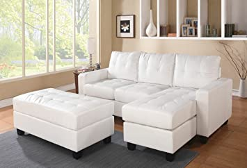 2 Pc Lyssa Collection White Bonded Leather Match Upholstered Sectional Sofa  With Reversible Chaise With Squared