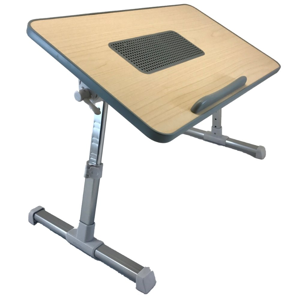 Rictor Desktop Standing Desk, Adjustable Laptop Bed Table with USB Cooling Fan, Portable Computer Table by Value Mavens by Rictor
