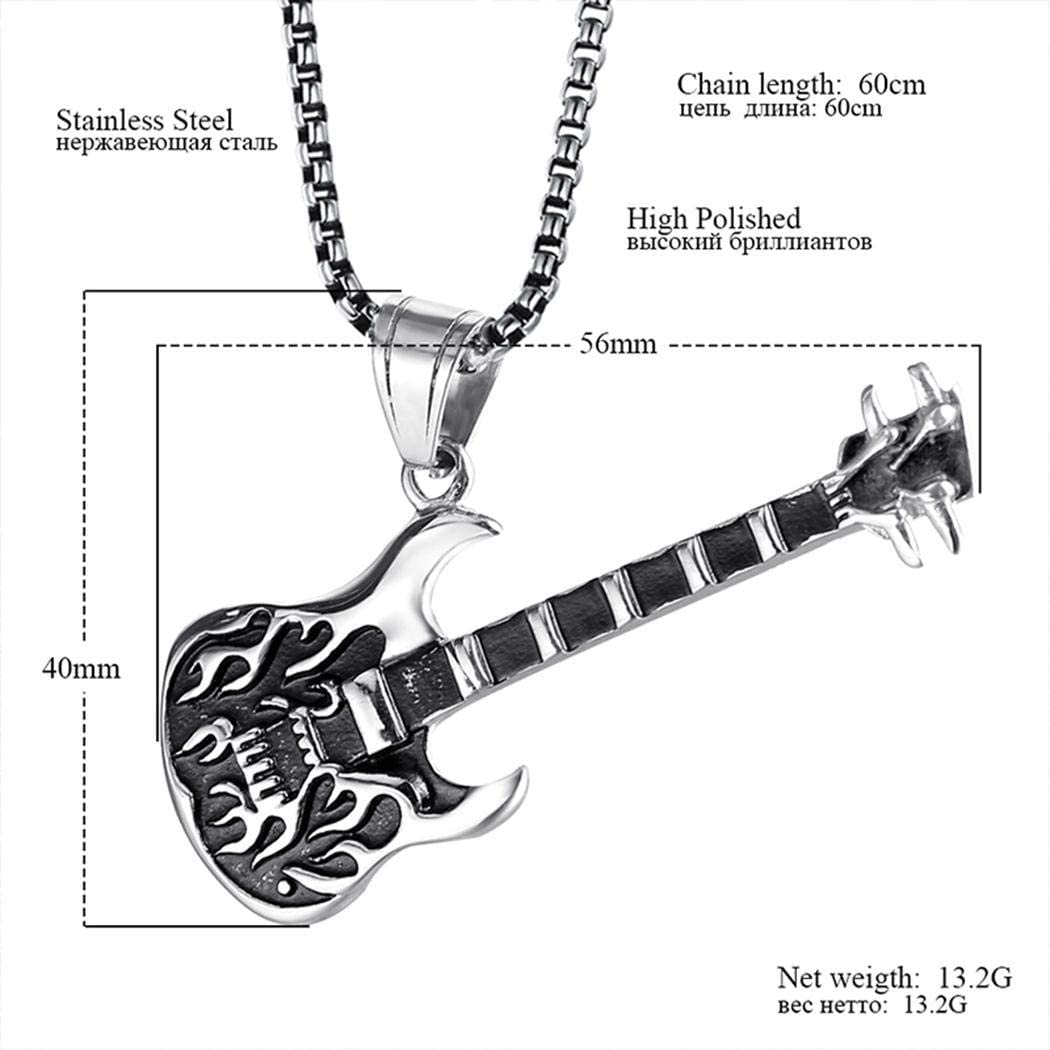 Stainless Steel Jewelry Electric Guitar 24 JEWURA Vintage Necklace