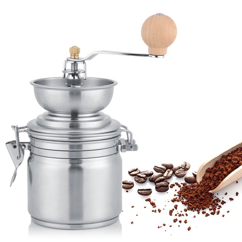 Silver Molinillo de caf/é manual de acero inoxidable port/átil grano de caf/é molinillo de especias de pulido herramienta de mano de molienda con ajustable molino de rebabas de cer/ámica