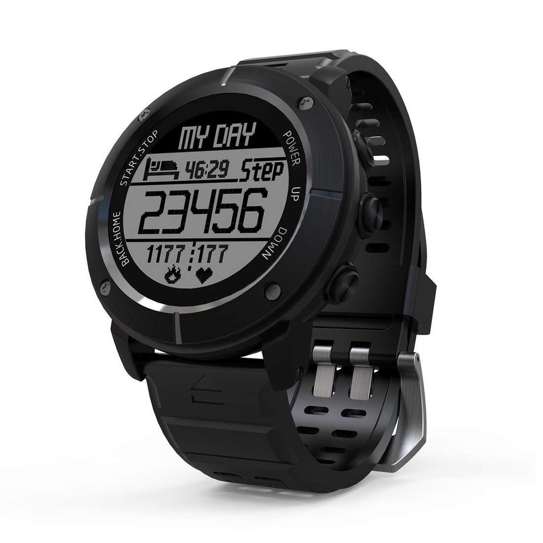 Formulaone 1.2-Zoll-Anzeige-Wasserdichte wandernde im Freien laufende intelligente Uhr-Pulsmesser-GPS-Thermometer-Sport-Uhr - Schwarzes
