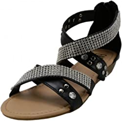 b0178956b0c9 Wholesale (18 Pairs) Women s Studded with Rhinestone Look Double Cross Trap  Sandals