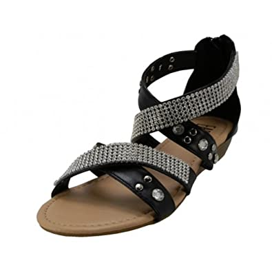 da833072f8a712 Wholesale (18 Pairs) Women s Studded With Rhinestone Look Double Cross Trap  Sandals (black