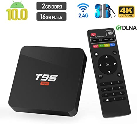 Android 10 TV Box, T95 Super Allwinner H3 Quad-Core CPU 2GB RAM 16GB ROM Ultra HD 4K resolución 2.4GHz WiFi 100M LAN HDMI 2.0 Smart Media Player: Amazon.es: Electrónica