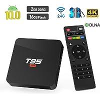 Android TV Box,T95 Super Android 10.0 TV Box 2GB RAM/16GB ROM Allwinner H3 Quad-Core Soporte WiFi/Ethernet 4K HDMI Smart TV Box