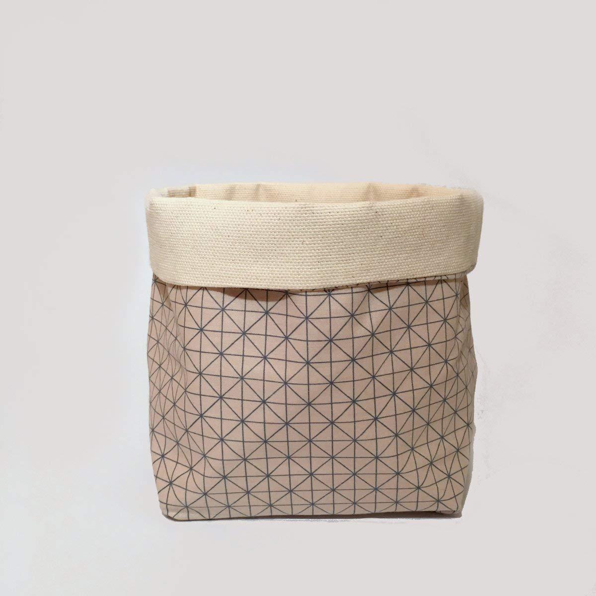 Utensilo Weiß L I Stoff-Körbchen Organizer - Handmade von Nuu Berlin I Aufbewahrungs-Box Für Bad, Schlaf- Und Kinder-Zimmer I 12x12x18 cm