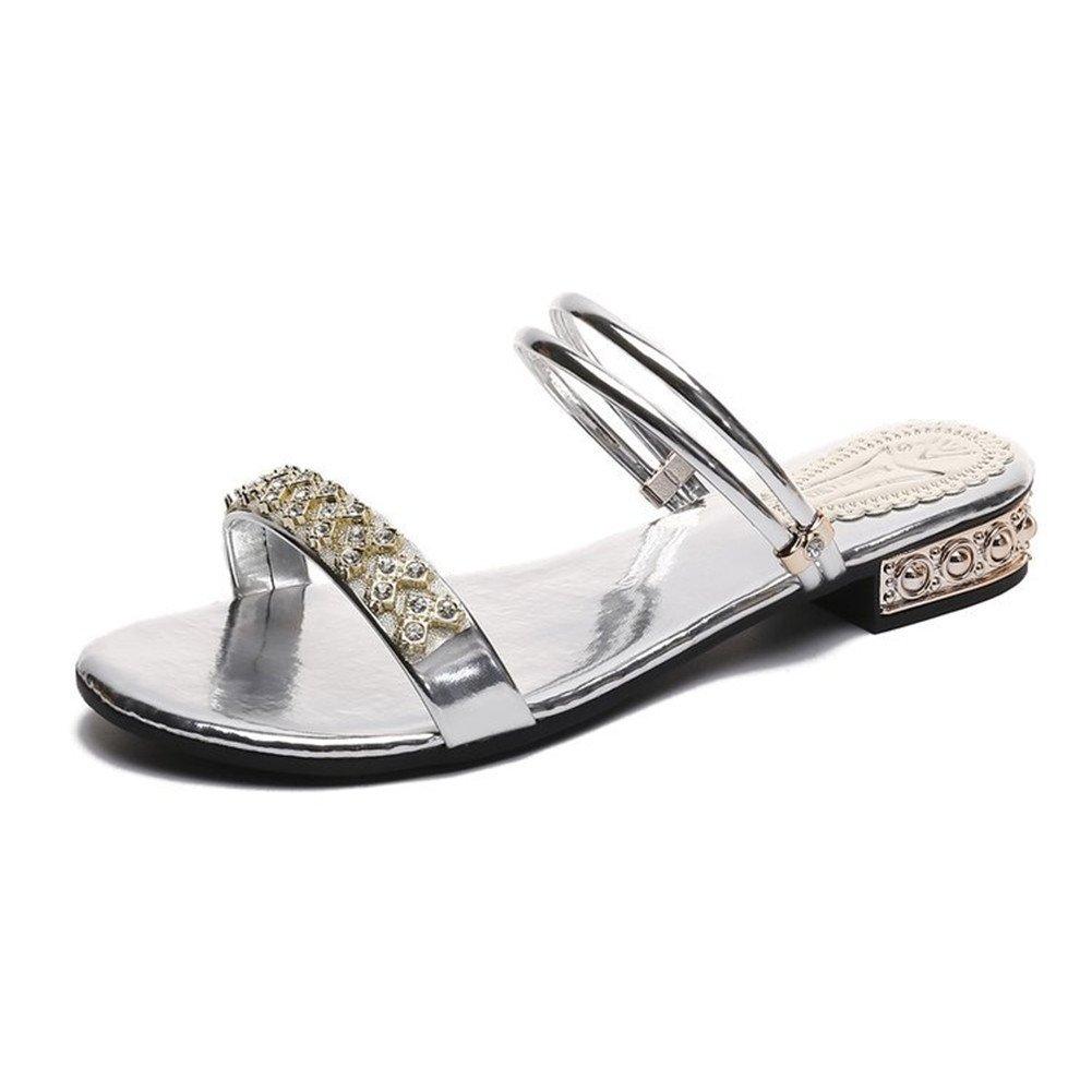 LJO Frauen Hausschuhe Flache Schuhe Sommermode Runden Kopf Rutschfeste Asakuchi Sandalen  UK/EU38|Silver