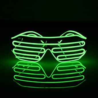 LEDMOMO Blinkende LED-Show-Spielzeug-Gläser leuchten Slotted Shutter Sonnenbrillen Shades Party Favors (grün) bKdBY6nl1