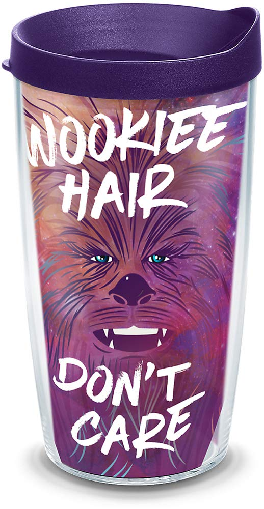 Clear Tervis 1294323 Star Wars 16 oz Mug Wookiee Hair Dont Care Insulated Tumbler with Wrap and Royal Purple Lid