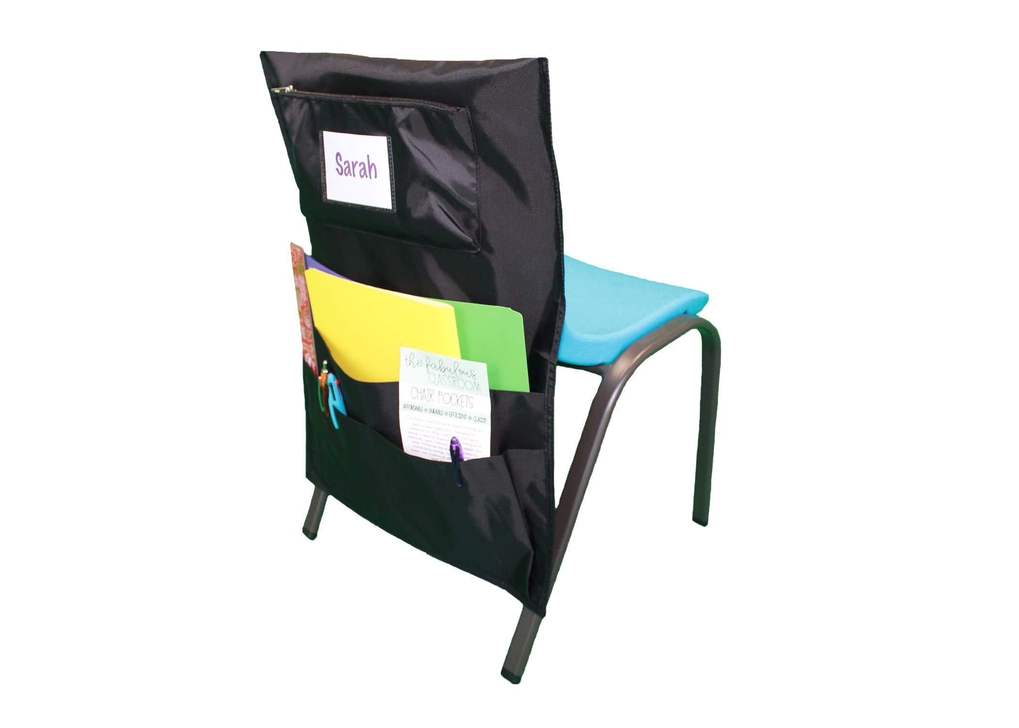 Fabulous Classroom Seat Back Chair Pockets - Pack of 6, Black