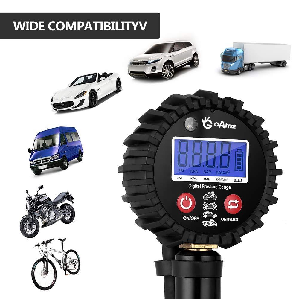 Moto Camion,SUV Manometro Digitale,250 PSI Manometro Pressione Gomme Pneumatici LCD Manometro Gonfiatore Air Mandrini per Auto
