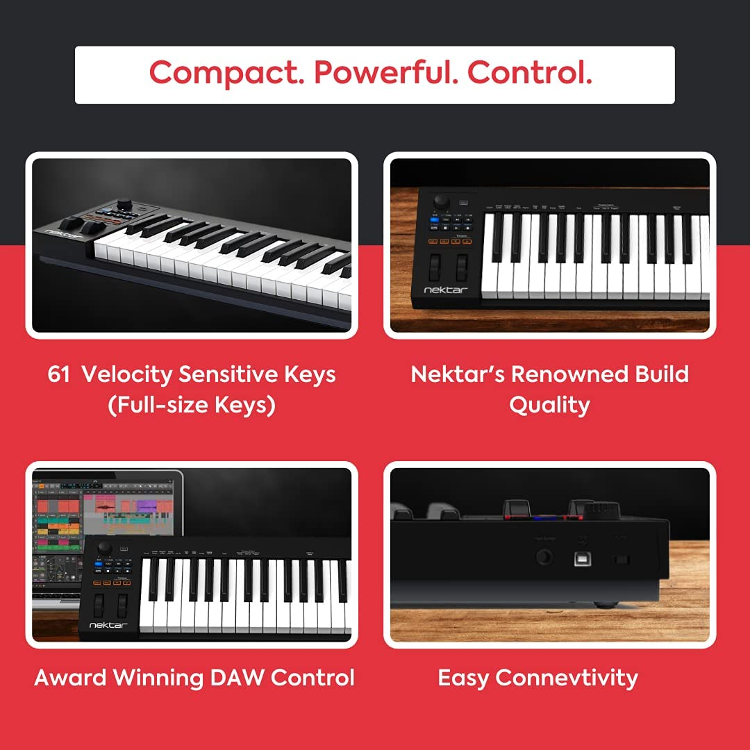 Nektar Impact GX61 - Controlador USB MIDI de teclado con integración de DAW