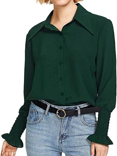 FAMILIZO Camisetas Escote Mujer Camisetas Mujer Verano Blusa Mujer Elegante Camiseta Mujer Manga Larga Camisetas Mujer Fiesta Camisa Mujer Manga Larga Camisetas Gasa Mujer: Amazon.es: Ropa y accesorios
