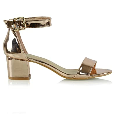 7959ece2126 ESSEX GLAM Womens Low Block Heel Strappy Synthetic Sandals