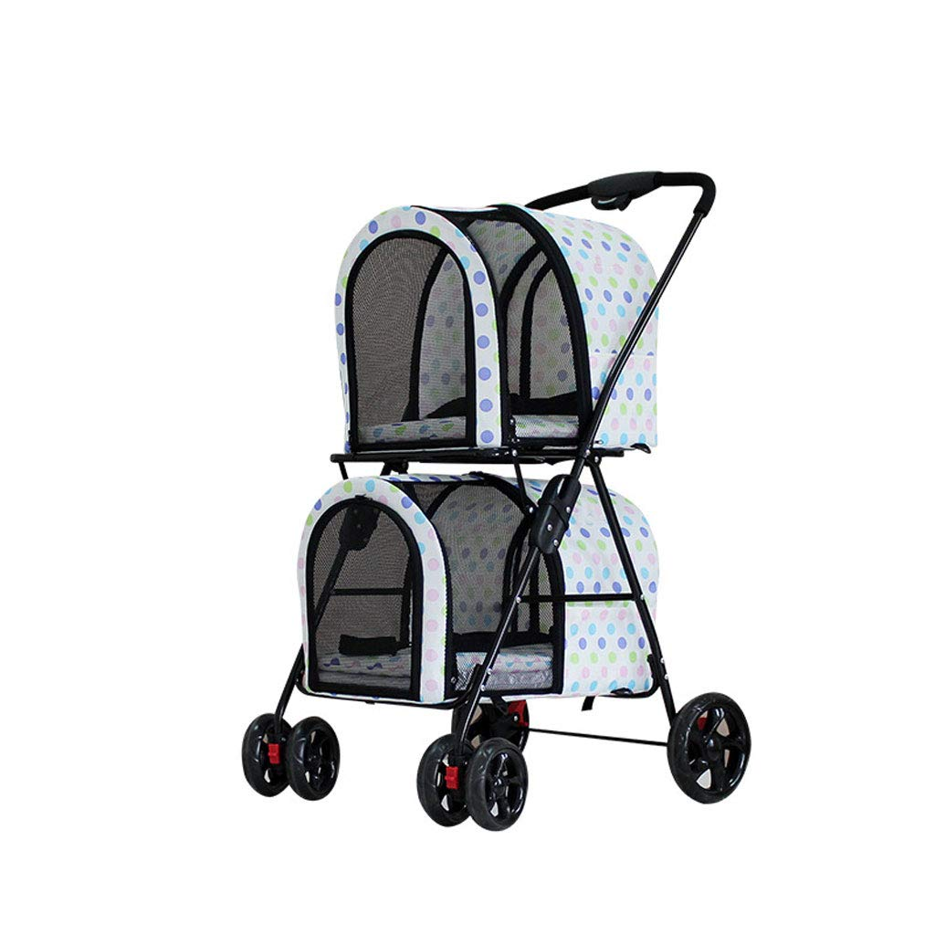 NYJ Double-Layer Pet Stroller, Detachable And Portable, Stainless Frame Pet Travel Carrier, Big Wheel With Safety Breaks