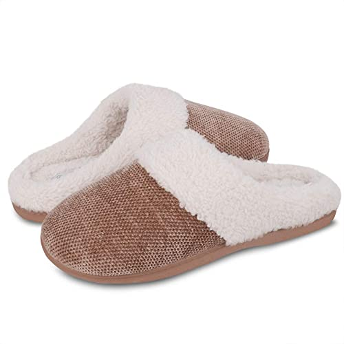DL Women's Slippers Fuzzy Fleece Lining Memory Foam House Slippers for Women Indoor Outdoor Anti Slip Rubber Sole
