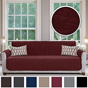 Gorilla Grip Original Velvet Slip Resistant Luxury Oversize Sofa Slipcover Protector, Seat Width Up to 78 Inch Patent Pending, 2 Inch Straps, Hook, Couch Furniture Cover, Oversize Sofa, Merlot