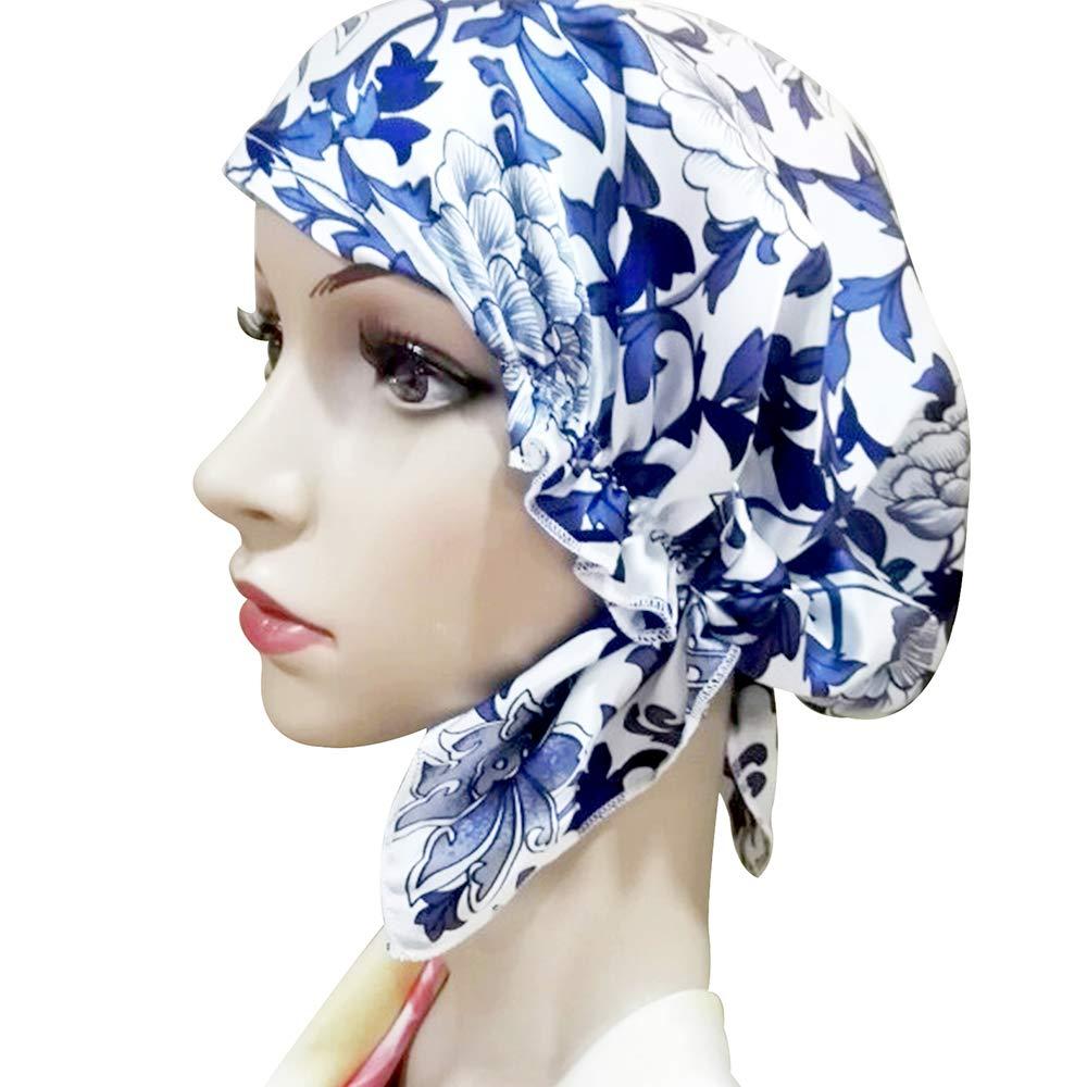 a4ce21f04a2 Zando Women Silk Skullies Beanies Thin Satin Hair Bonnet Cap Beanies Night  Cap Sleeping Hat Printed B-Color 1 at Amazon Women s Clothing store