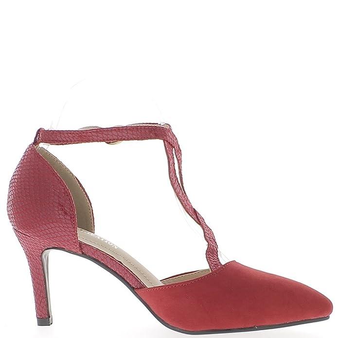 Escarpins ouverts rouges à talons de 7,5 cm pointus aspect daim et croco fines brides - Couleur:Rouge