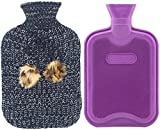 Premium Classic Rubber Hot Water Bottle and Blending Knit Cover with Pom Pom Decor, for Pain Relief and Comfort, 2 Liter