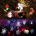 Misika Led Christmas Projector Light Outdoor 2017 Newest Version,Bright Led Holiday Landscape Spotlight with 16 Slides Multicolor Dynamic Lighting Show for Halloween Party Decoration Lampm