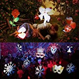 Misika Led Christmas Projector Light Outdoor 2018 Newest Version,Bright Led Holiday Landscape Spotlight with 16 Slides Multicolor Dynamic Lighting Show for Halloween Party Decorati