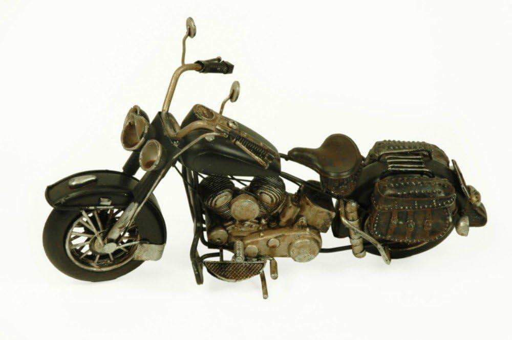 CAPRILO Figura Decorativa de Metal Moto Harley Negra Vehículos. Adornos y Esculturas. Coleccionismo. 28 x 10 x 15 cm.