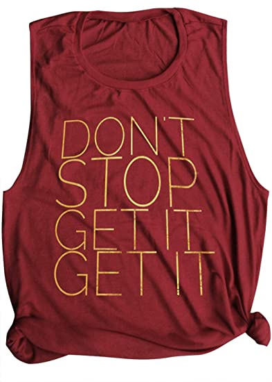 f45ae23d9 Amazon.com: Don't Stop Get It Workout Yoga Tank Tops Women Summer Funny  Letter Graphic Sleeveless Muscle Racerback Tops Shirt: Clothing