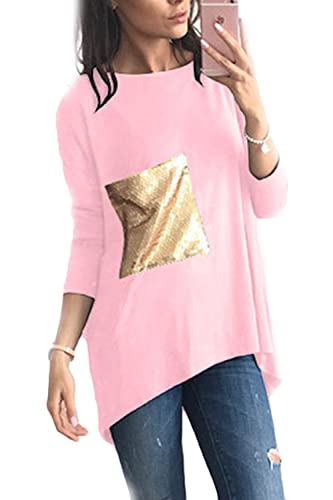 Mujeres Sólido De Manga Larga Cuello Redondo Lentejuelas Patchwork T Shirt Tunic Top Tee