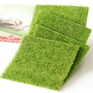Shindel Fairy Artificial Grass, Artificial Garden Grass, Ornament Garden Dollhouse, 6''x 6'', 4 PCS