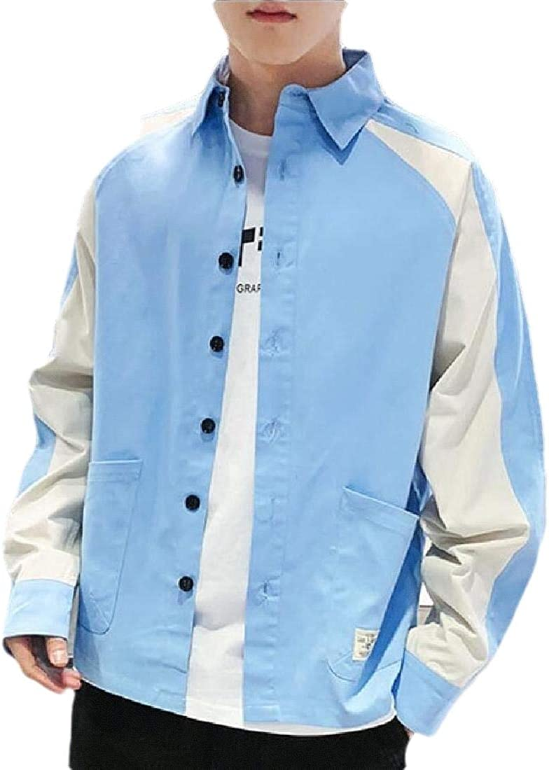 Qiangjinjiu Mens Color Block Button Down Long Sleeve Work Dress Shirt Tops Blouses