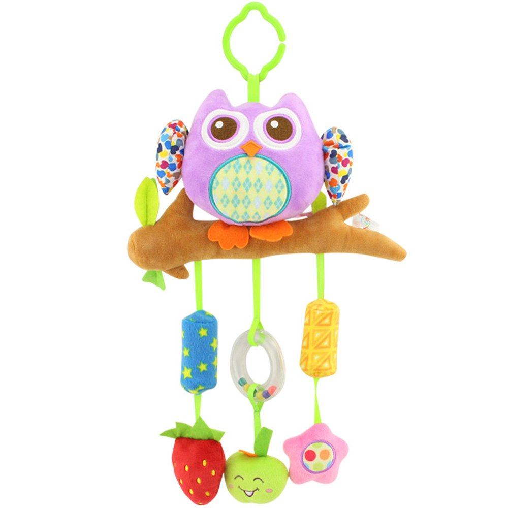 Godr Kid Baby Hanging Bed Strollers Toys Wind Chime Infant Hanging Plush Toy Crib High Chair Bassinet Stroller Rail - Purple Owl