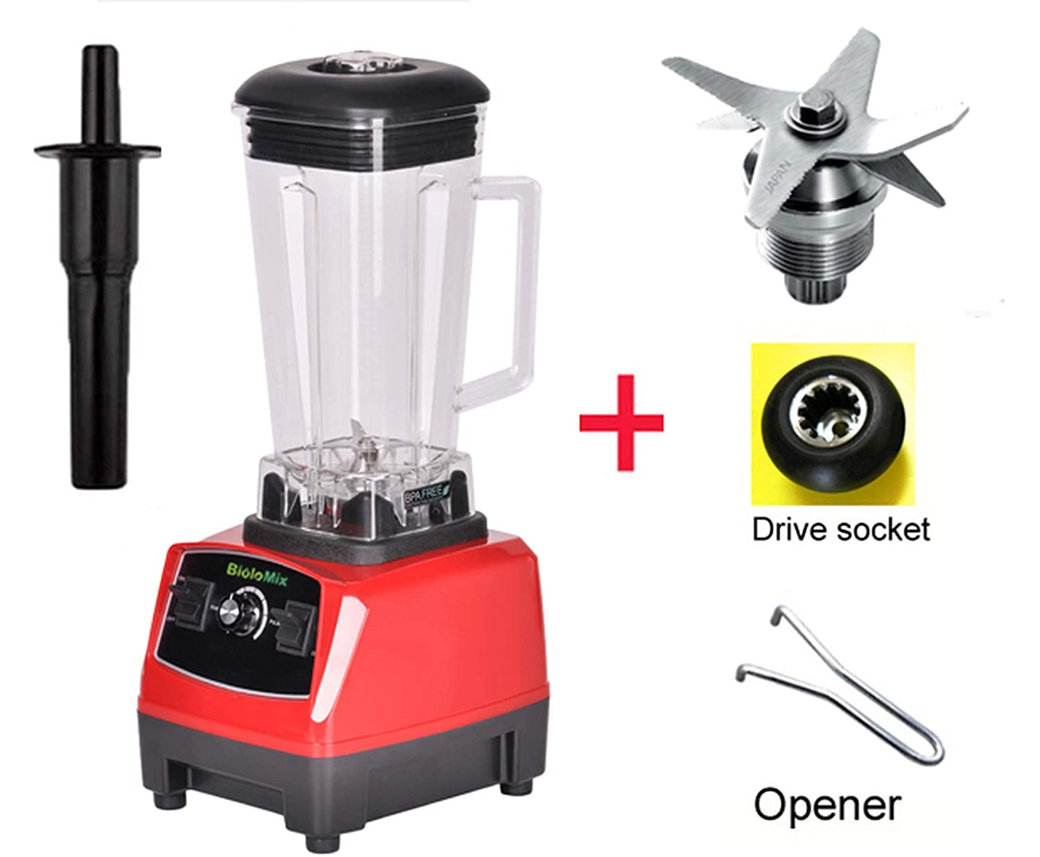 2200W 3Hp 2L G5200 High Power Ial Home Professional Smoothies Power Blender Food Mixer Juicer Fruit Processor,Red Full Parts,Eu Plug