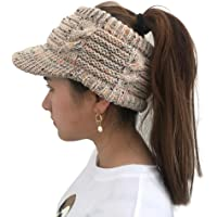XOWRTE Women Winter Cotton Twist Peaked Knit Wool Hollow Out Multicolor Point Cap Hat
