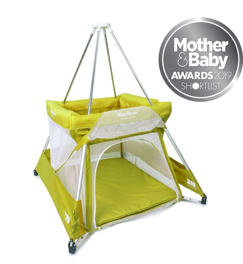 BabyHub SleepSpace Travel Cot with Mosquito Net, Green Bebelephant COT20GRN