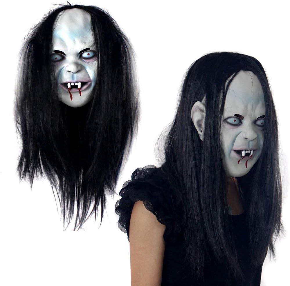 Kylewo Máscara de Halloween con Peluca Látex Espeluznante Cosplay de Halloween Miedo Aterrador Máscara alienígena Máscara de Cosplay Látex Miedo: Amazon.es: Hogar