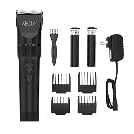 Abody Hair Clipper Cordless Hair Trimmer Rechargeable Hair Shaver Ceramic Titanium Blade for Mens and Babies with 2 Rechargeable Batteries 4 Comb