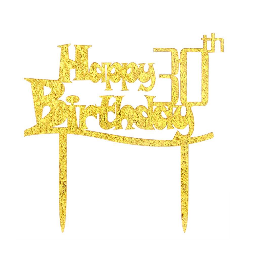 Birthday Party Supplies Decoration Karoo Jan Happy 30th Birthday Cake Topper Hello 30 Birthday Party Monogram Thirty Gold