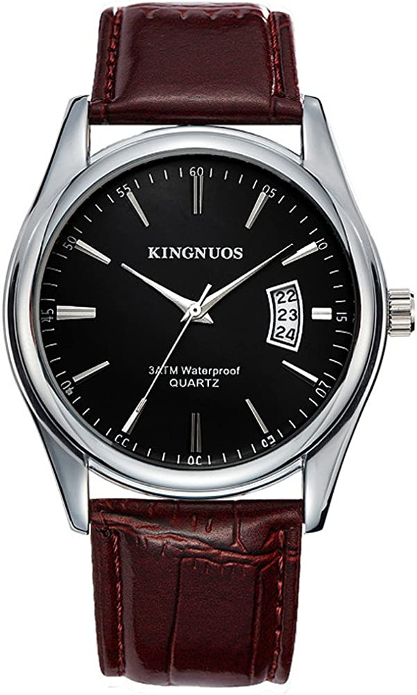 K-Martins Mens Wrist Watch Black Face -Quartz Analog Roman Numeral with Classic Brown Leather - Waterproof 10 Years Batteries - Fashion Casual Unique Dress - Business Office Work School Watches