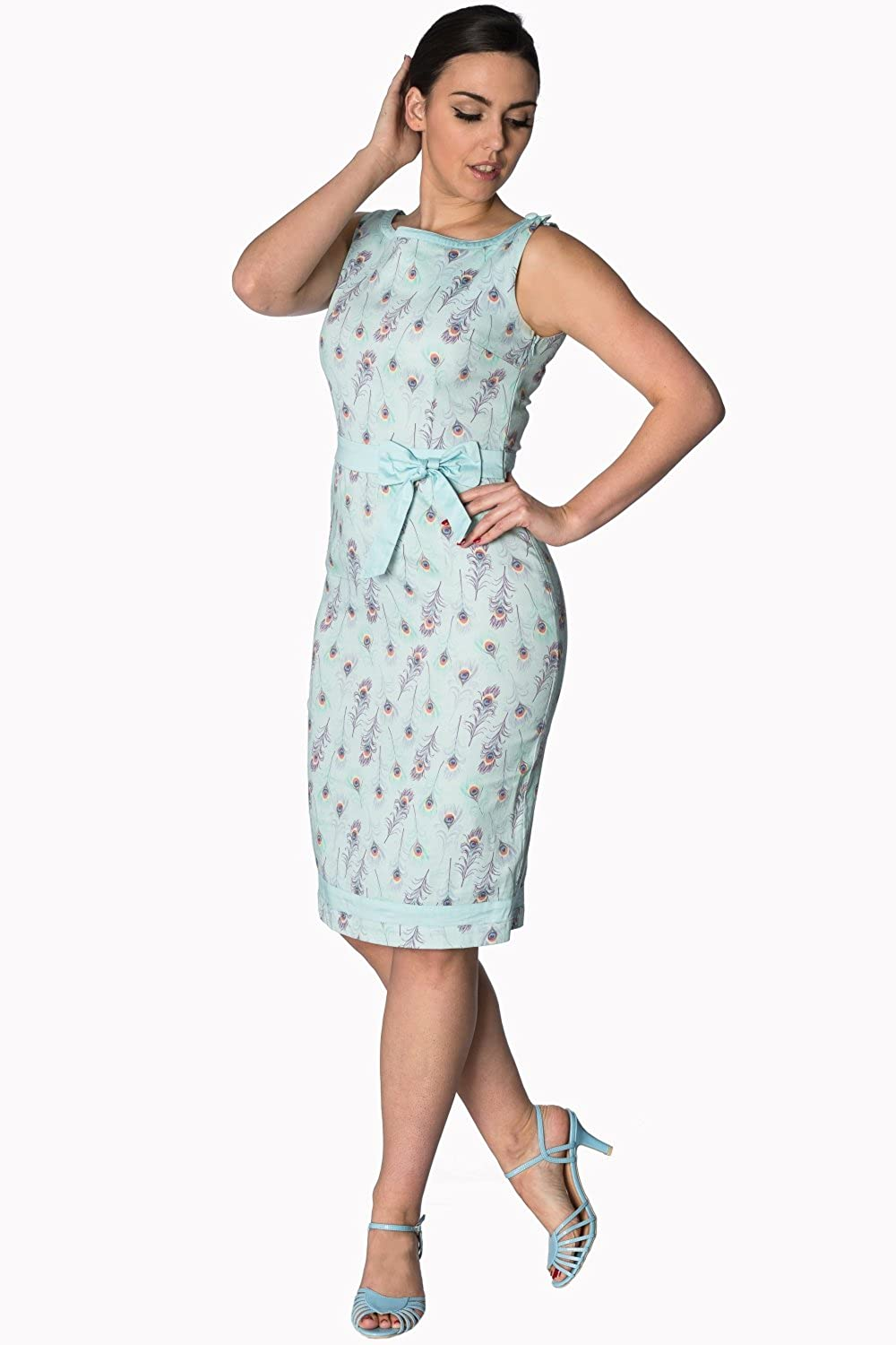 03d4b90555 Banned Plus Size Peacock Vintage Retro Fifties Style Pin up Wiggle Dress  Blue at Amazon Women s Clothing store