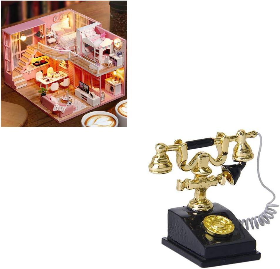 Tiny Tel/éfono Retro Mini Casa Crafts Escena en Miniatura Juego 01:12 Modelo de la casa de mu/ñeca decoraci/ón de los Accesorios Yisily Miniatura Accesorios de mu/ñecas