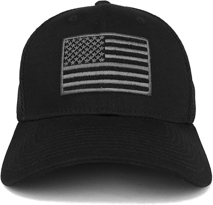 0dde3c8734a American Flag Embroidered Low Profile Flexible Air Mesh Baseball Cap (One  Size