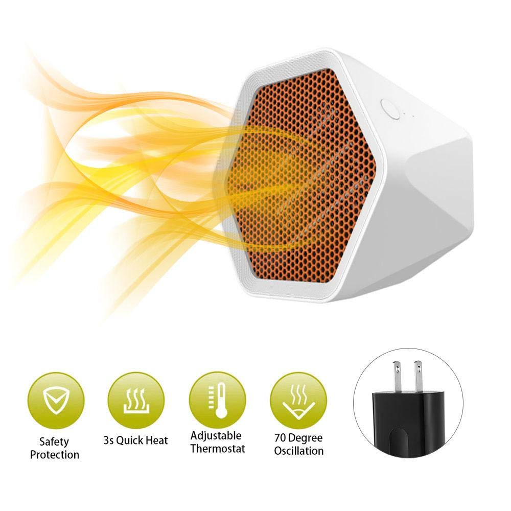 FOONEE Ceramic Space Heater, 600W Indoor Space Electric Heater, Portable Hexagon Indoor Desk Personal Heater, 3 Seconds Heat, Overheat Tilt Protection, 2 Gear Adjustable, Perfect for Home and Office
